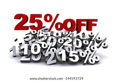 3D Rendering Of 25 Per Cent Off - stock photo