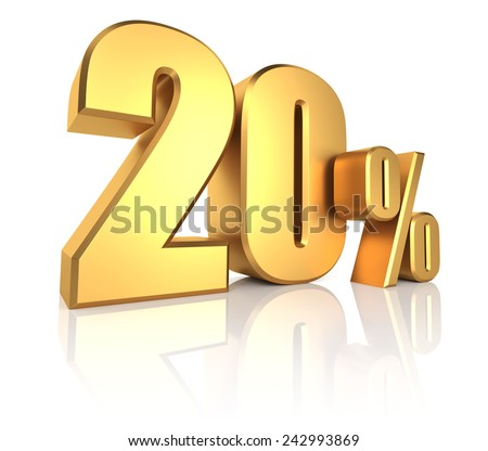 3D rendering of 20 percent in gold metal letters on white background  - stock photo