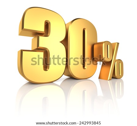 3D rendering of 30 percent in gold metal letters on white background with shadow - stock photo