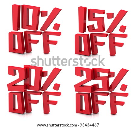 3D rendering of 10-25 percent on white background - stock photo