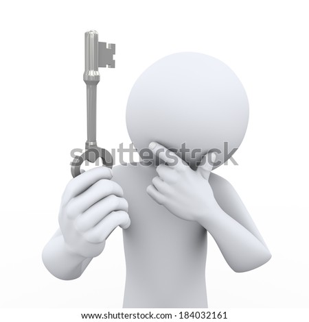 3d rendering of person holding and looking at key and thinking. 3d white people man character. - stock photo