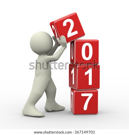 3d rendering of person placing 2017 new year cubes.  - stock photo