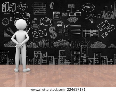 3d rendering of person studying and looking at business drawing sketch drawing on the wall. 3d white people character - stock photo