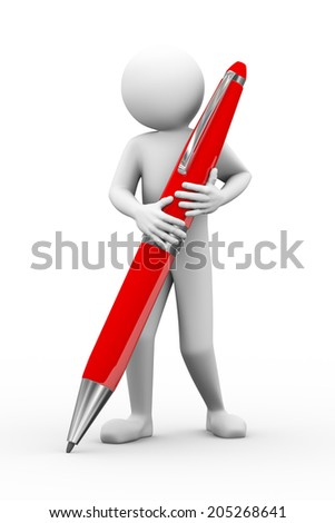 3d rendering of person with large big pen. 3d white people man character. - stock photo