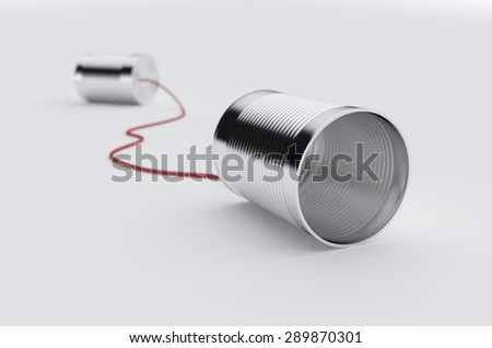 3d rendering of phone can with red cable. Soft focus image - stock photo