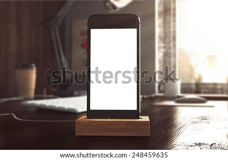 3d rendering of phone on table - stock photo