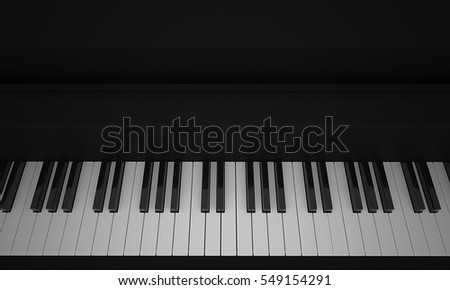 3d rendering of Piano keyboard in black and white