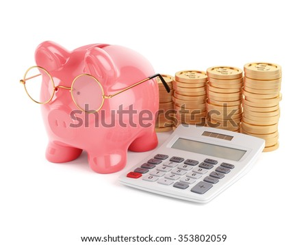 3d rendering of pink piggy bank with golden coins and calculator. Business concept - stock photo