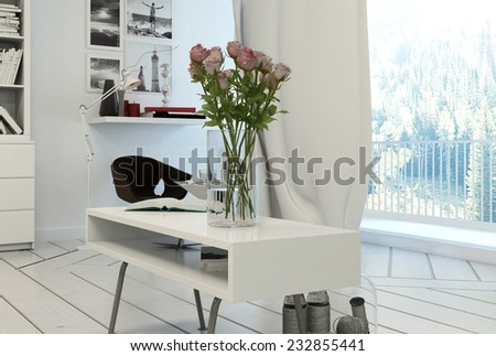 3D Rendering of Pink Roses in Vase on Modern Coffee Table in Home