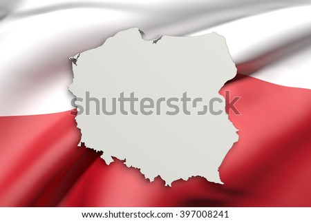3d rendering of Poland map and flag on background. - stock photo
