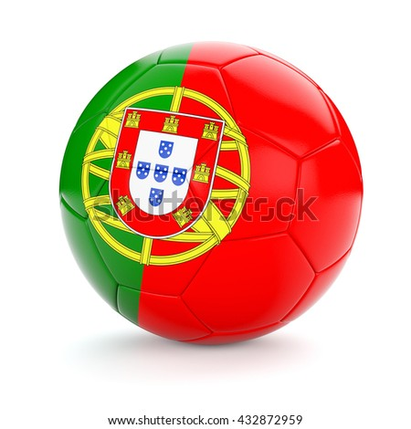 3d rendering of Portugal soccer football ball with Portuguese flag isolated on white background - stock photo