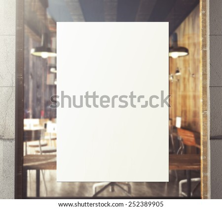 3d rendering of poster on window - stock photo