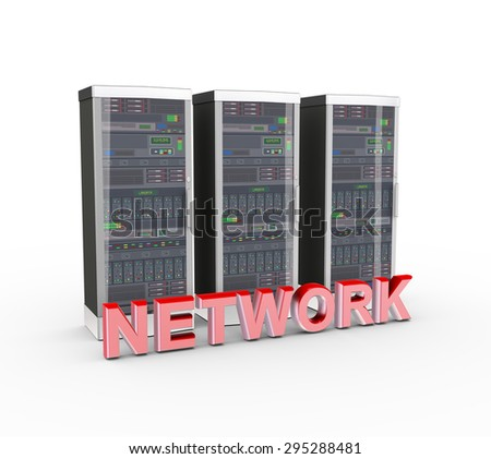 3d rendering of powerful computer network servers system machine and word text network - stock photo