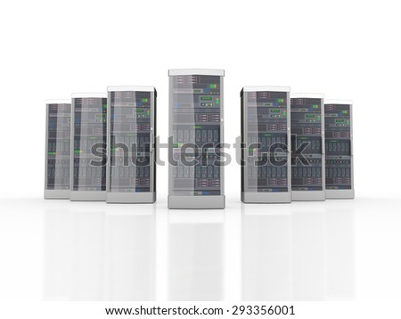 3d rendering of powerful network computer servers system machines - stock photo