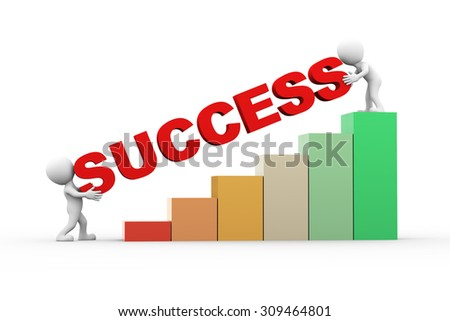 3d rendering of progress bar chart and people with word text success. - stock photo