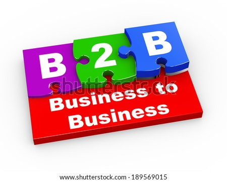 3d rendering of puzzle pieces presentation of b2b - business to business - stock photo