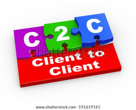 3d rendering of puzzle pieces presentation of  c2c  - client to client - stock photo