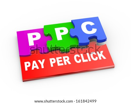 3d rendering of puzzle pieces presentation of ppc - pay per click - stock photo