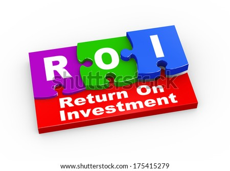 3d rendering of puzzle pieces presentation of  roi - return on investment - stock photo