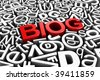 """3d rendering of random letters with """"blog"""" written in the middle - stock photo"""