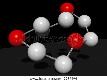 3d rendering of red and white molecules on a black background