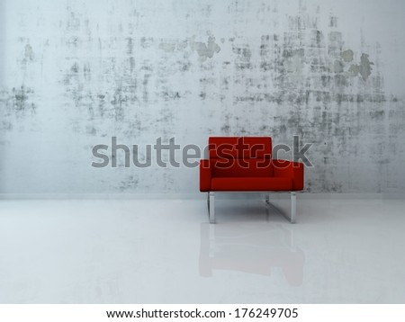 3d Rendering of red chair against concrete wall - stock photo