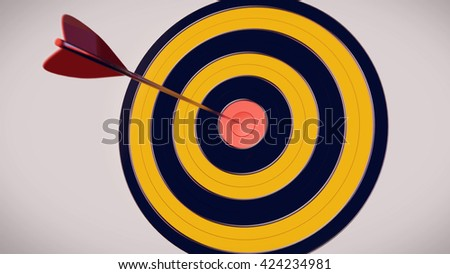 3D rendering of Red dart arrow hitting in the target center of dartboard with a white background - stock photo