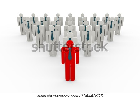3d rendering of red leader with his team member. concept of leadership, uniquem, teamwork. - stock photo