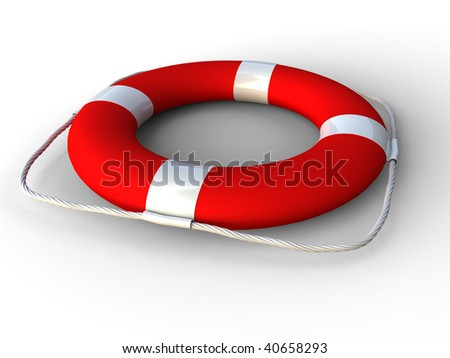 3D rendering of red life belt  on white background