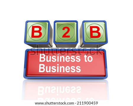 3d rendering of reflective boxes buzzword  b2b - business to business - stock photo