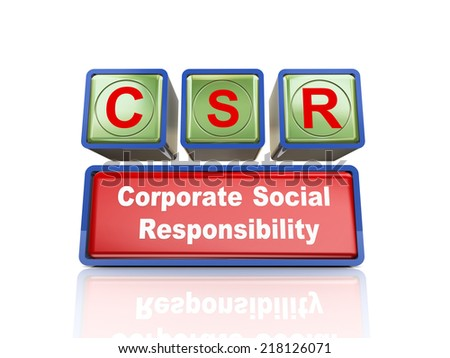 3d rendering of reflective boxes buzzword csr - corporate social responsibility - stock photo