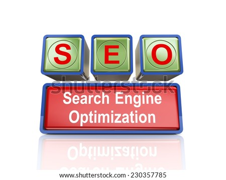 3d rendering of reflective boxes buzzword seo - search engine optimization - stock photo