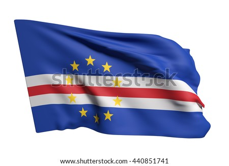 3d rendering of Republic of Cape Verde flag waving on a white background