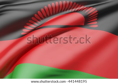 3d rendering of Republic of Malawi flag waving