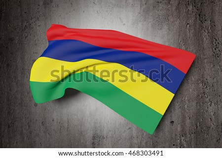 3d rendering of Republic of Mauritius flag waving on a dirty background