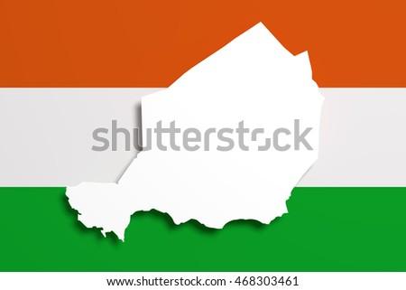 D Rendering Republic Niger Map Flag Stock Illustration - Niger map