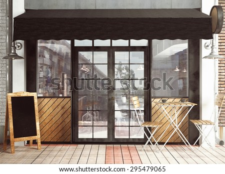 Restaurant Facade 3d rendering restaurant facade stock illustration 284533538