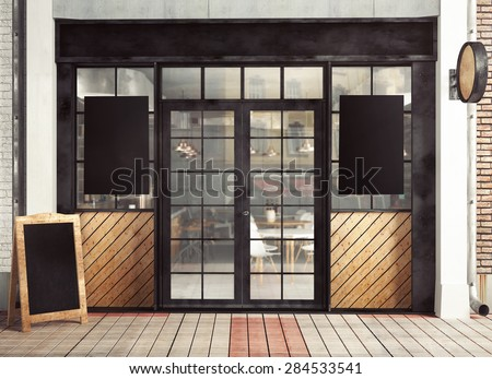 3d rendering of restaurant facade with posters - stock photo