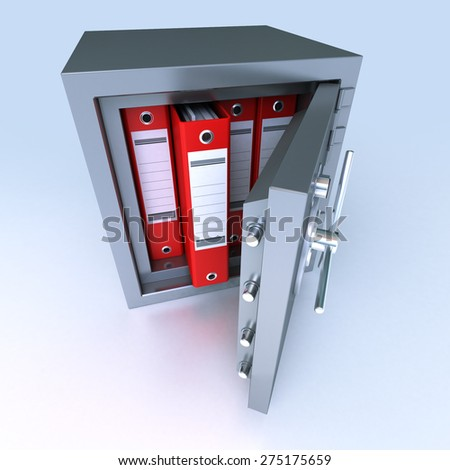 3D rendering of ring binders on a safe deposit box - stock photo