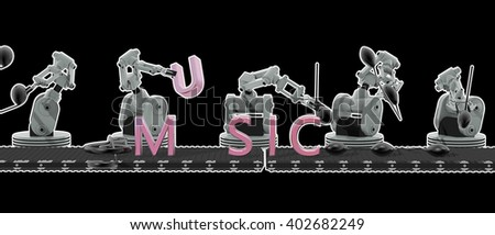 3D rendering of robots make music - stock photo