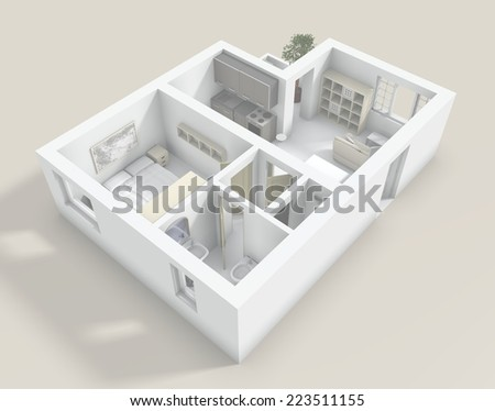 3d rendering of roofless flat with furniture - stock photo