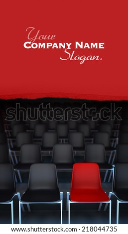 3D rendering of rows of black chairs and a red one - stock photo