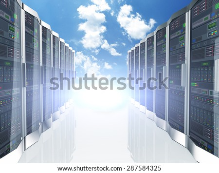 3d rendering of rows of network servers machine farm cloud computing hardware on blue sky background - stock photo