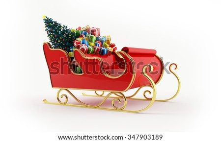 3d rendering of Santa Claus sleigh