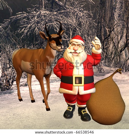 3d rendering of Santa Claus with bag and reindeer in the forest as illustration - stock photo