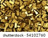 3d rendering of scattered gold bars - stock photo