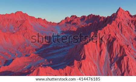 3d rendering of scenic mountains landscape on an alien planet. Abstract Sci fi mountains of Mars with desert red soil.  - stock photo