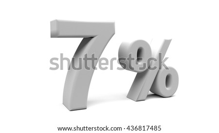 3D rendering of Seven percents text in big letters on a white background.