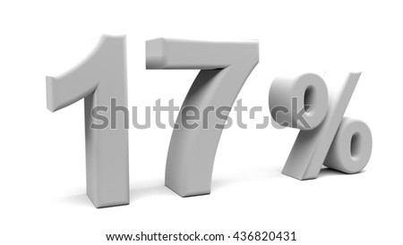 3D rendering of seventeen percents text, with big fonts isolated on white background.