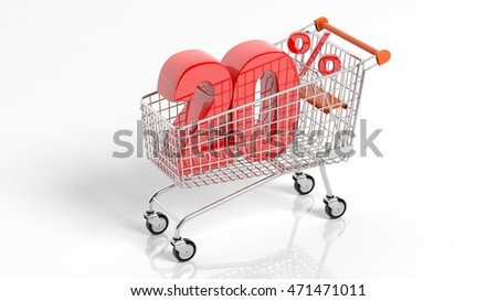 3D rendering of shopping cart trolley with 20 percent sale on white background.Isolate